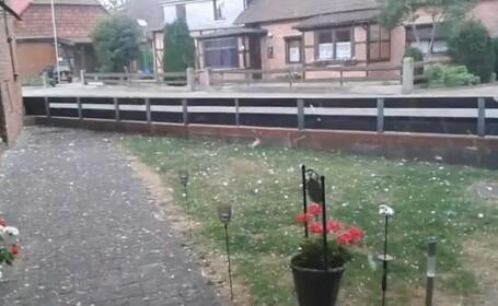 Un sat din Germania, distrus de grindina. Pagubele se ridica la milioane de euro. VIDEO