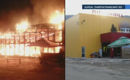 Incendiul devastator care a distrus piata din Piatra Neamt. 100 de pompieri s-au luptat timp de patru ore cu flacarile imense