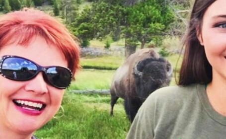 Ce a patit o femeie din SUA cand a vrut sa-si faca un selfie cu un bizon salbatic. \
