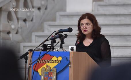 Raluca Pruna, ministrul Justitiei, rosteste un discurs in cadrul evenimentului 'Ziua Justitiei', organizat de C.S.M.