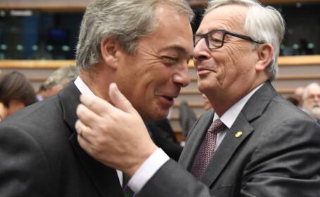 Juncker si Nigel Farage in parlamentul european
