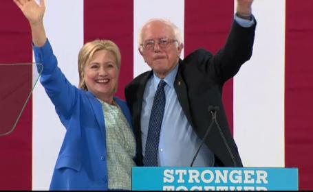 Bernie Sanders o sustine pe Hillary Clinton. Care este diferenta in sondaje intre candidata democrata si Donald Trump