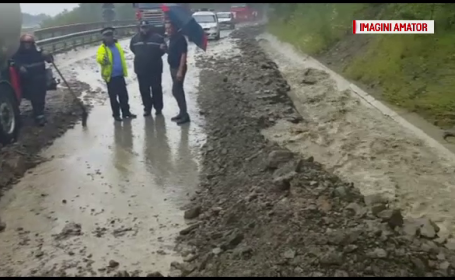 Dezastrul lasat in urma de ploile torentiale in mai multe judete: alunecari de teren si drumuri blocate de copaci si pietre