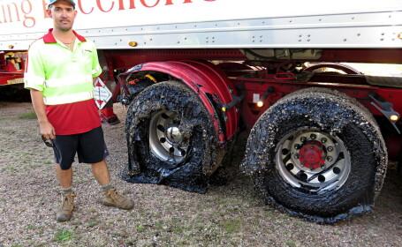 Australienii au rămas cu mașinile împotmolite în asfaltul topit
