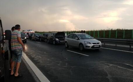Coliziune în lanț între sașe mașini pe A2 Bucureşti - Constanţa