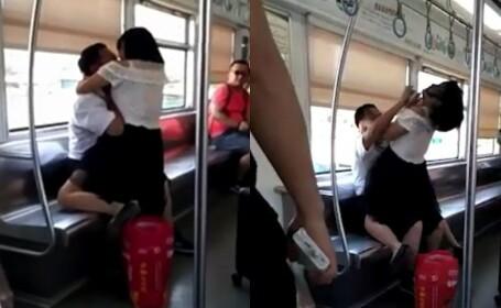 O femeie a muşcat un bărbat de faţă în metrou, apoi s-a dezbrăcat sub ochii pasagerilor