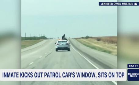 Cum a încercat un deținut să evadeze din mașina care îl transporta la închisoare. VIDEO