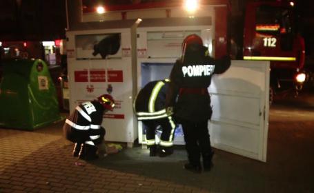 O femeie a rămas blocată într-un container, în Timișoara. Ce căuta