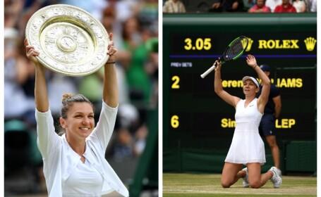 Primel imagini cu Simona Halep cu trofeul de la Wimbledon