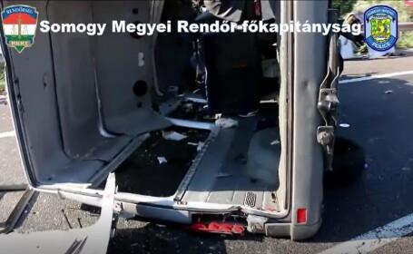 Un microbuz cu 9 români s-a răsturnat în Ungaria
