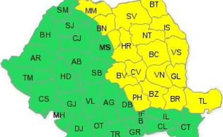 Codul galben de ploi prelungit pana joi, in Moldova, Muntenia, Dobrogea