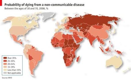Tarile dezvoltate sufera de cancer si boli de inima. Cat e afectata Romania de \