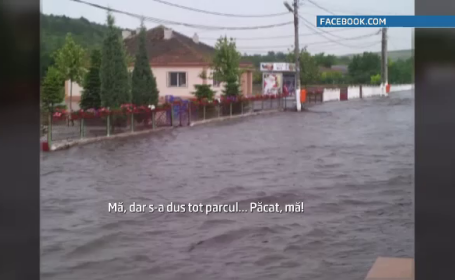 Imaginile dezastrului din Dobrogea. Comuna in care strada principala s-a transformat intr-un rau