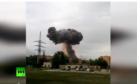Explozie intr-un depozit de munitie din Rusia. Patru persoane sunt ranite. VIDEO