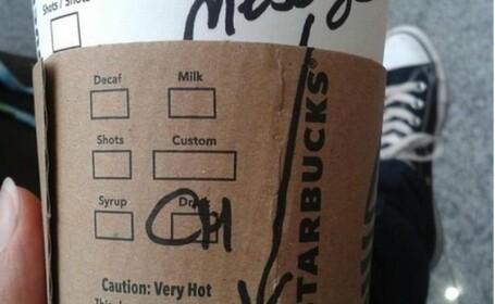 mesaj secret, ceasca cafea Starbucks