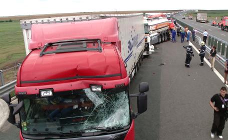 accident TIR-uri pe autostrada