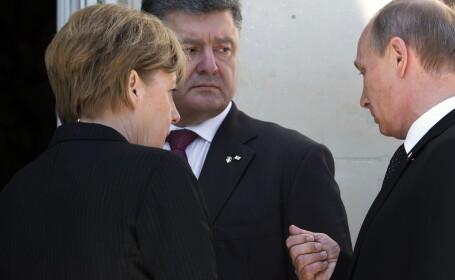 Angela Merkel, Petro Porosenko, Vladimir Putin