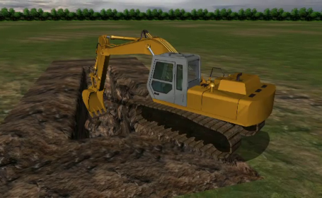 decapitat excavator, animatie grafica