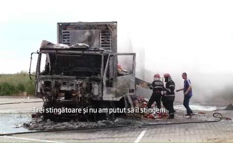 Un TIR plin cu fulgi de cereale a fost cuprins de flacari in Timisoara. Soferul a fost la un pas de moarte