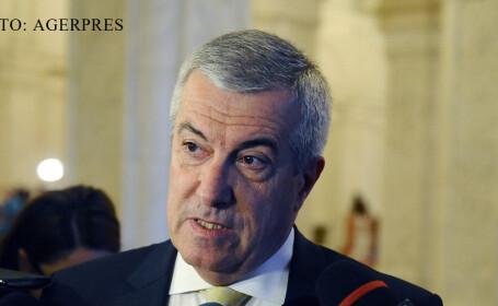 Presedintele Senatului, Calin Popescu-Tariceanu, raspunde intrebarilor jurnalistilor inainte de a participa la sedinta de plen comun a Parlamentului, in care se dezbate si se voteaza motiunea de cenzura initiata de PNL FOTO AGERPRES