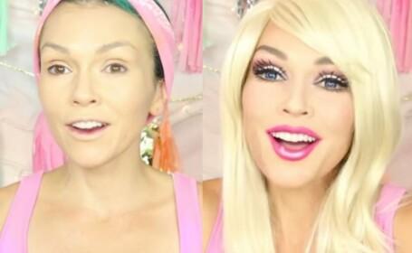 O femeie se transforma intr-o Barbie vie prin machiaj, in doar 90 de secunde. VIDEO