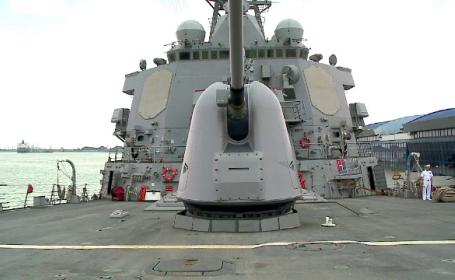 Distrugatorul american USS Porter, la Constanta, pentru un antrenament cu navele romanesti de razboi. Ce arme are la bord