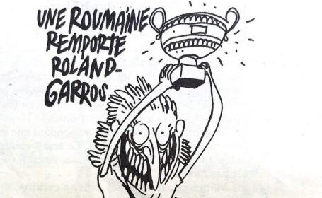 """Victoria Simonei Halep, ironizată de revista franceză Charlie Hebdo. """"Fier vechi! Fier vechi!"""""""