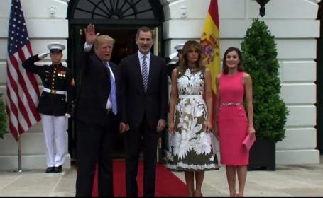 Regele Spaniei și soția sa, primiți la Casa Albă. Protocolul l-a dezorientat pe Trump