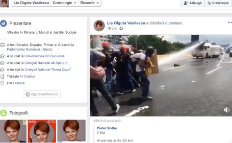 Lia Olguța Vasilescu a șters de pe Facebook un filmuleț cu protestatari alungați cu tunuri cu apă, la o zi după ce l-a postat