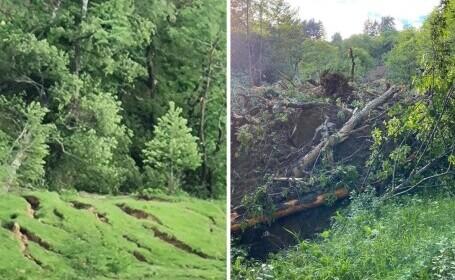 Alunecare masivă de teren în judeţul Buzău. Se întinde pe cel puțin 10 hectare