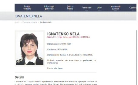Ex-consilierul guvernamental Nela Ignatenko, localizată în Belgia. Are de ispășit 5 ani de închisoare pentru spălare de bani