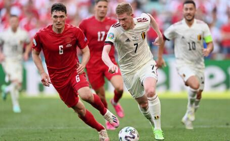 Danemarca 1 - 2 Belgia, la EURO 2020. De Bruyne aduce Belgia în avantaj, cu un șut imparabil