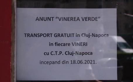 """""""Vinerea verde"""" în Cluj Napoca. Cetățenii pot circula gratis pe mijloacele de transport în comun"""