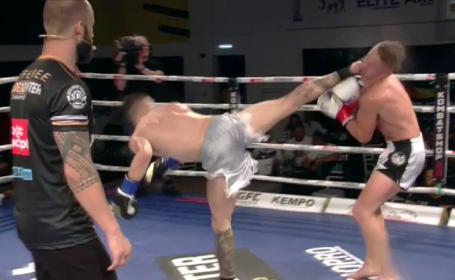 I-a dat somn! Petru Morari și-a făcut KO adversarul cu o lovitură spectaculoasă din întoarcere! Olandezul și-a pierdut