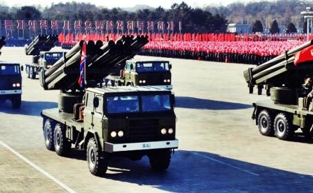 coreea de nord, lansatoare rachete, parada