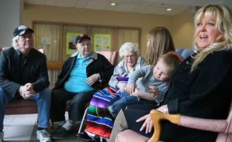 107 ani sunt intre ei. Cele 6 generatii ale unei familii, intr-o imagine superba. VIDEO