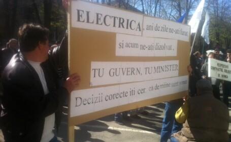 Peste 100 de angajati de la Electrica protesteaza in fata Prefecturii Timis. De ce sunt nemultumiti