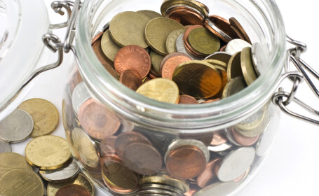 monede in borcan