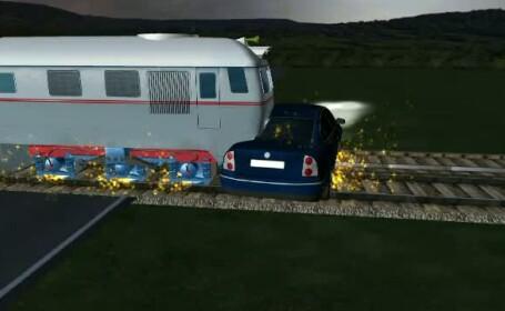 ANIMATIE GRAFICA: Patru persoane au scapat miraculos cu viata, dupa ce masina lor a fost lovita de tren. Soferul era baut