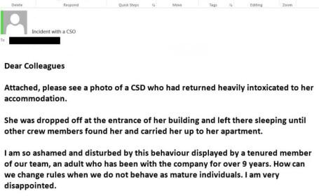 Au deschis un email de la seful lor si au inlemnit. Ce poza atasase unul dintre vicepresedintii Qatar Airways. FOTO