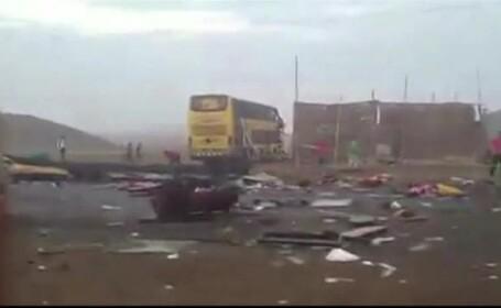 Accident grav in Peru. 36 de oameni au murit, dupa ce un autocar a fost lovit de alte 2 autocare si un camion