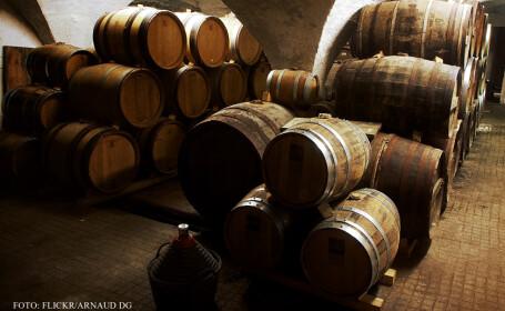 butoaie cu vin in pivnita unui viticultor din Franta