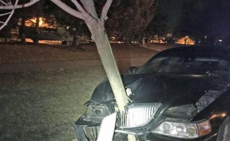 S-a imbatat si a intrat cu masina direct intr-un copac, dar apoi si-a continuat drumul. Cine a coborat din aceasta masina