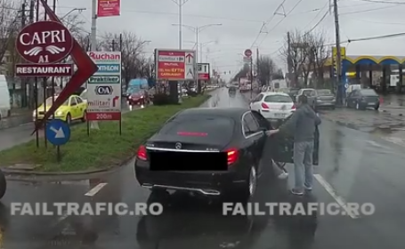 Politia Capitalei il cauta pe barbatul filmat in timp ce isi batea iubita in masina. Femeia a refuzat sa depuna plangere