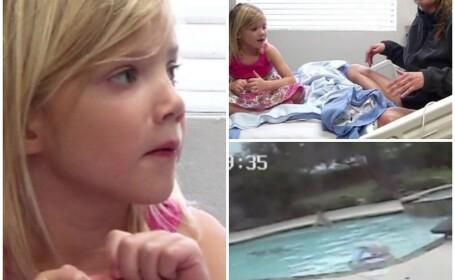 Si-a salvat mama care suferise o criza in piscina, desi are doar cinci ani. Gestul curajos, filmat de camera de supraveghere