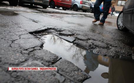Gropi aparute in urma conditiilor severe de iarna si tratarii carosabilului sunt vizibile in Bucuresti