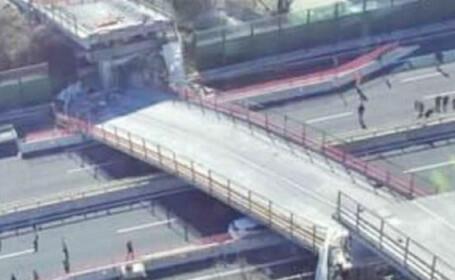 Un pod s-a prabusit peste o autostrada din Italia. Trei romani au fost raniti, iar un cuplu a murit. VIDEO
