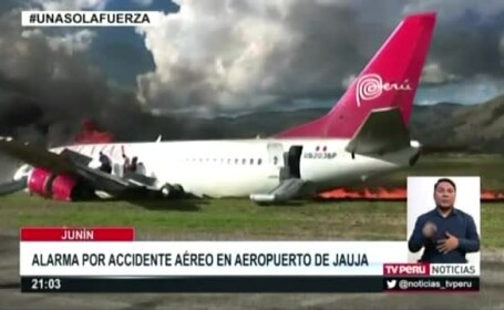 Un avion in care se aflau 141 de persoane a luat foc, in Peru, dupa ce a ratat aterizarea