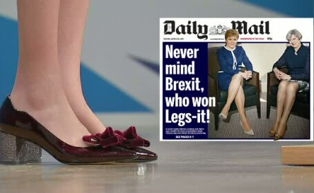 O poza publicata de Daily Mail a starnit o adevarata polemica. Picioarele Theresei May si Nicolei Sturgeon, pe prima pagina