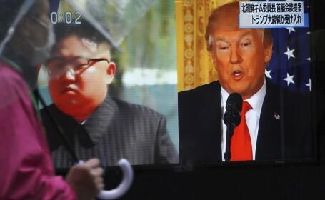 Kim Jong-Un, Donald Trump, ecran